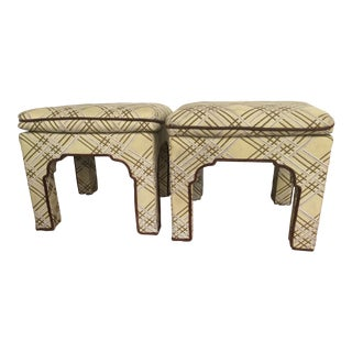 1970s Vintage Upholstered Pillow Top Moroccan Ottomans - a Pair For Sale