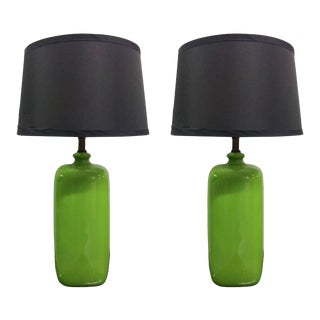 Pair of Mid-Century Modern Green Ceramic Lamps