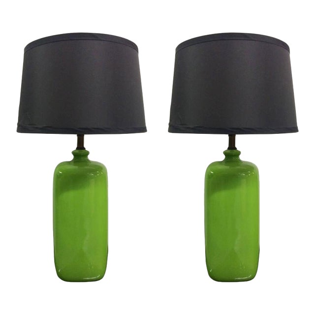 Pair of Mid-Century Modern Green Ceramic Lamps For Sale
