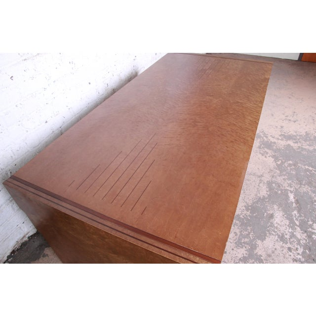 Metal Pierre Paulin for Baker Furniture Bird's-Eye Maple and Walnut Inlay Art Deco Executive Desk For Sale - Image 7 of 13