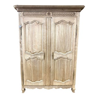 19th Century French Louis XV Bleached Oak Armoire For Sale