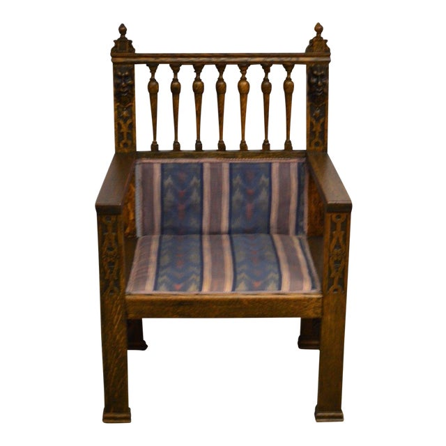 Antique Wind Man Carved Oak Library Armchair - Image 1 of 11