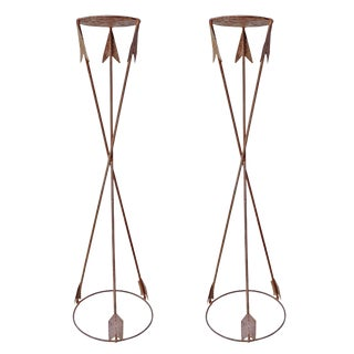 Neoclassical Style Iron Plant Stands - a Pair For Sale