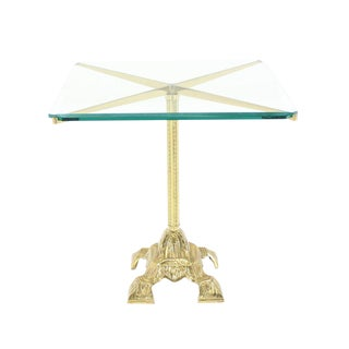 Cast Brass Base and Glass Top Side End Center Table Pedestal For Sale