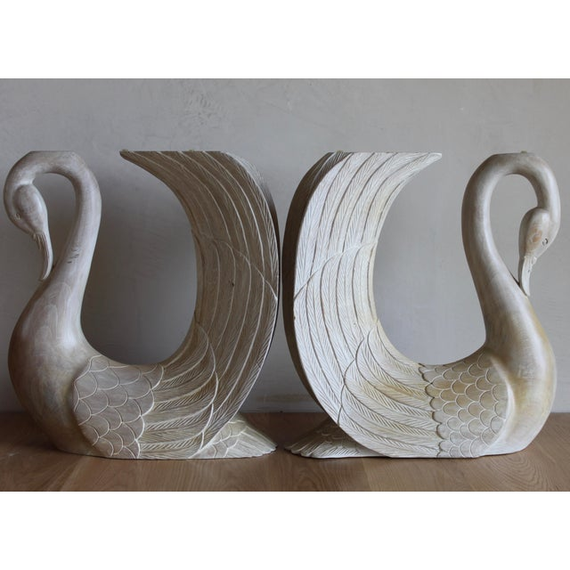 Vintage Hand Carved Solid Wood Twin Swan Console Table or End Table/Bar Table Bases - a Pair For Sale - Image 10 of 10