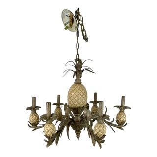 Vintage 1980s Tole Pineapple 6 Lights Chandelier For Sale