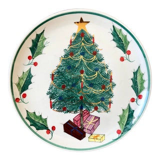 Mid Century Italian Christmas Tree Decorative Plate For Sale