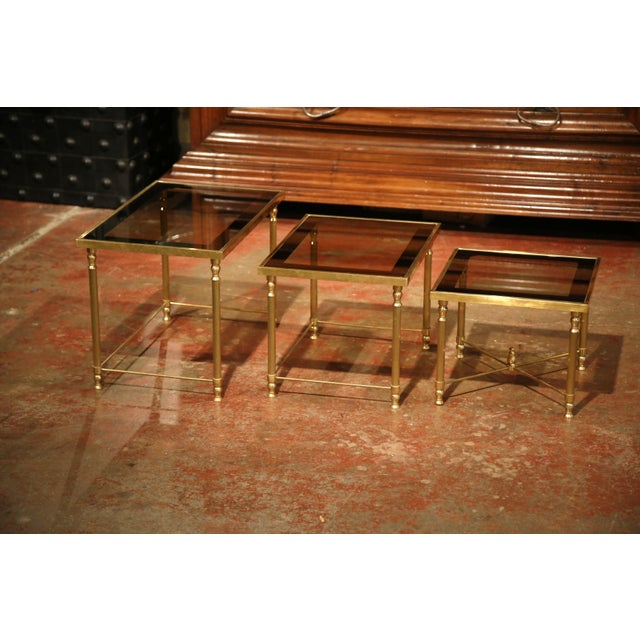 Brass Set of Early 20th Century, French Brass Nesting Tables Gigognes For Sale - Image 7 of 9