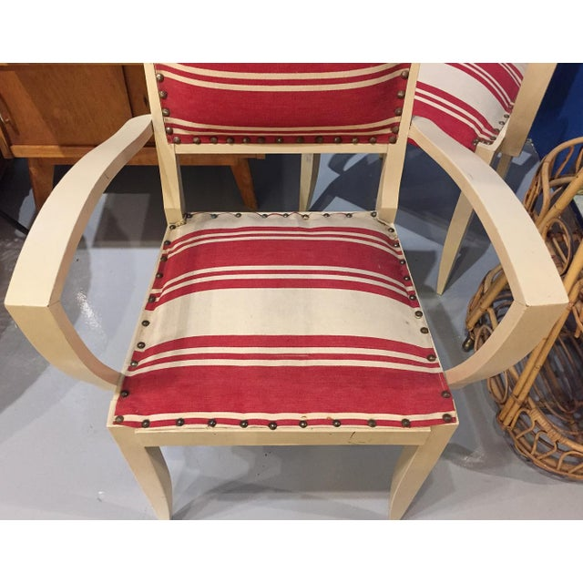 Pair, 1930's French ArmChairs, Red Stripes - Image 5 of 10