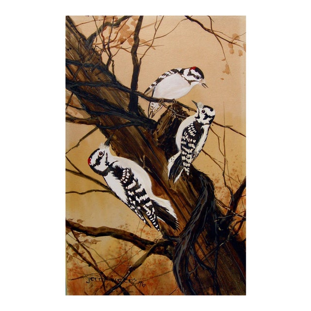 Downey Woodpeckers Painting by Jerry Weers For Sale