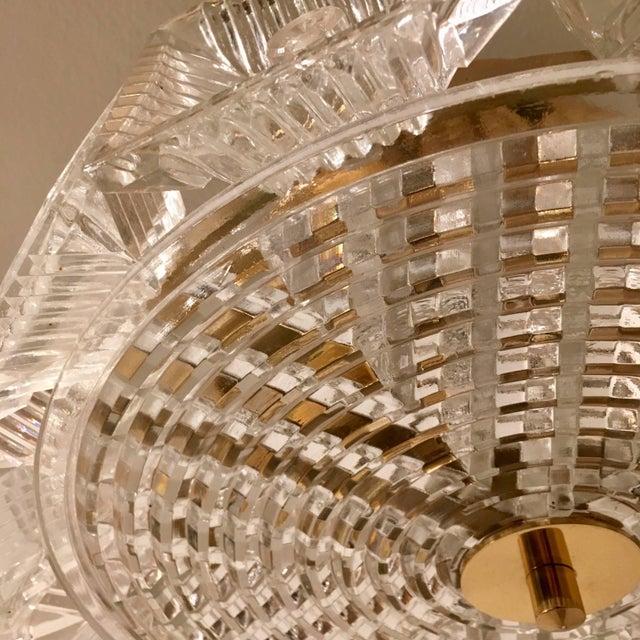 Mid-Century Modern Orrefors Swedish Crystal 1950s Flush Ceiling Hanging Amid Century Pendant For Sale - Image 3 of 9