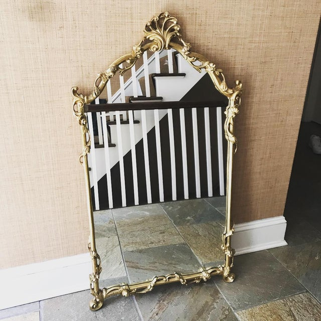 Beautiful Gold Wall Mirror. Chinoiserie style. Some wear to the gold finish. See pics.