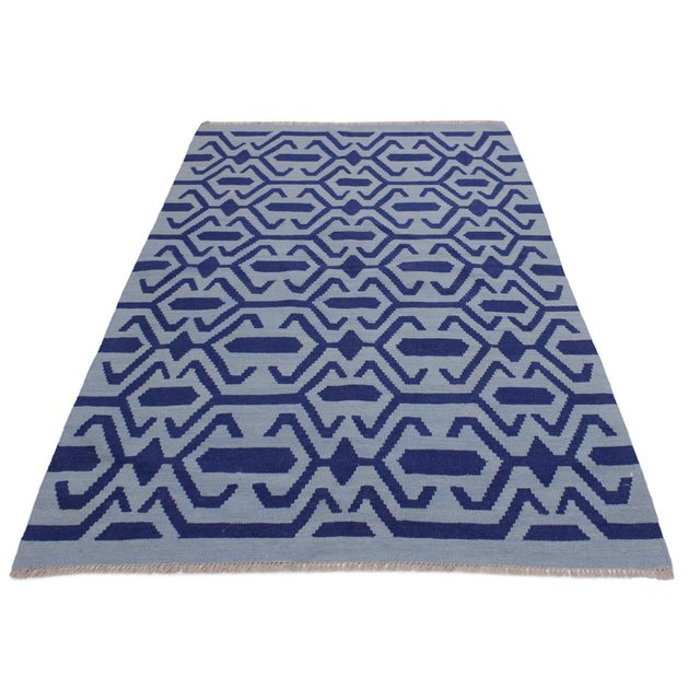 2000 - 2009 Contemporary Kilim Sager Blue Hand-Woven Wool Rug- 4′4″ × 5′9″ For Sale - Image 5 of 8