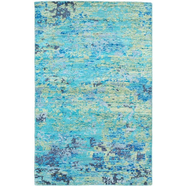 """Blue Hand-Knotted Sari Silk Rug - 5'1"""" X 7'11"""" - Image 1 of 2"""