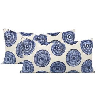 "14"" X 24"" Sapphire Medallion Cut Velvet Lumbar Pillows - a Pair For Sale"