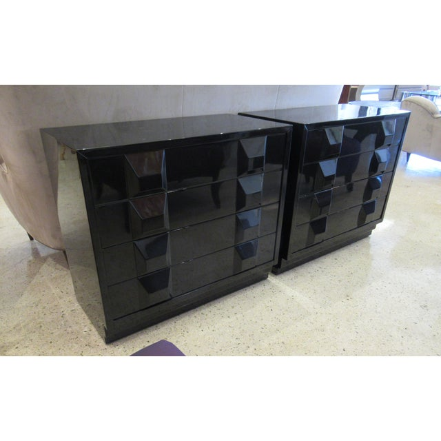 Black Italian Modern Black Lacquered Nightstands, Poltronova, 1960's For Sale - Image 8 of 10