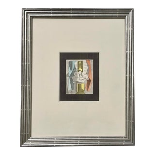 """1920 Vintage Pablo Picasso Lithograph Cubist Figures Interior """"Table Before Window"""" For Sale"""
