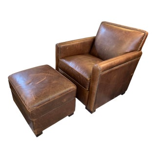 Custom Design Lewis Leather Chair + Ottoman For Sale