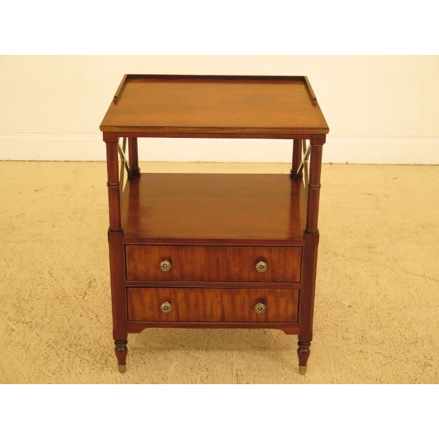 Vintage Ethan Allen 2 Drawer Mahogany Side Table For Sale - Image 12 of 12