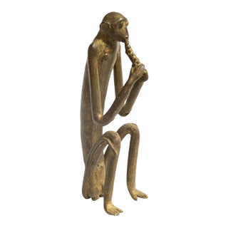 Large Seated Monkey with Two Handed Corn Vintage African Bronze Sculpture For Sale