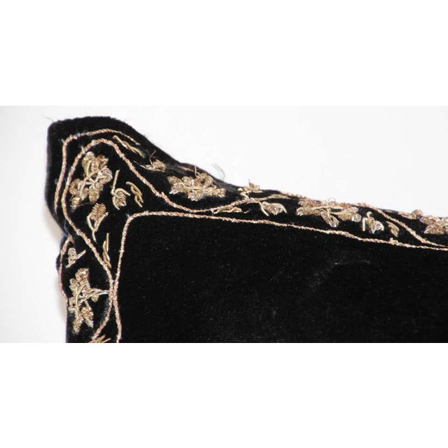Black Velvet Throw Pillow Embroidered with Metallic Moorish Gold Threads For Sale - Image 9 of 11