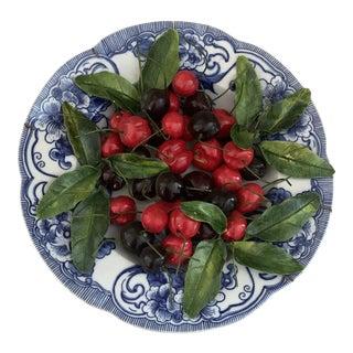 "Christine Viennet Trompe L'oeil Palissy 10"" Ceramic Cherry Plate For Sale"