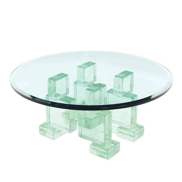 Solid Glass Blocks Glass Top Coffee Table For Sale - Image 9 of 9