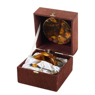 Silver & Amber Tea Cup Set For Sale