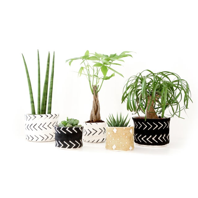 Vintage African Textile White Chevron Mudcloth Planter For Sale - Image 4 of 6