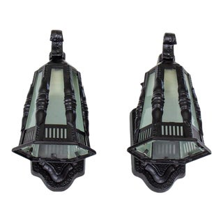 Early 20th Century Black Exterior Lantern Sconces - a pair For Sale