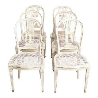 Antique White Gustavian Style Set of Six Dining Chairs For Sale