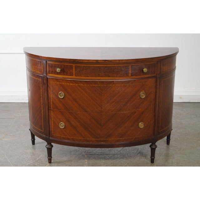 Antique 1920s Demilune Inlaid Walnut Louis XVI Style Chest of Drawers - Image 6 of 10