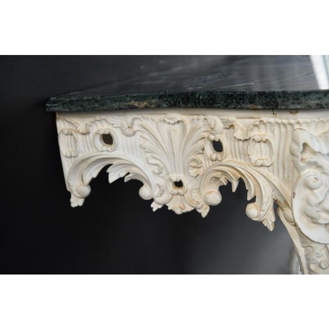 """Lovely vintage, Italian wall console with original plaster style paint. Measurements: H 33"""" x W 35"""" x D 20.5"""". Very..."""