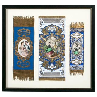 """Antique Advertising or Display Banners """"Sucre De Pomme,"""" France, Circa 1880 For Sale"""