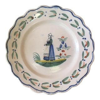 1900s Antique Quimper Wall Plate For Sale