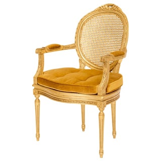 Gilded Louis XVI Caned Fauteuil For Sale