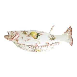 Vintage Italian Fish Shaped Hand Painted Ceramic Soup Tureen With Ladle For Sale
