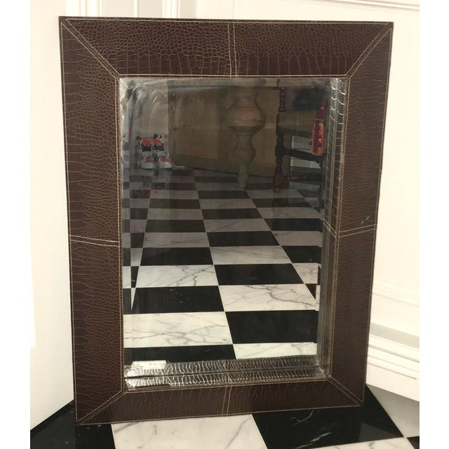 2000 - 2009 Chocolate Leather Framed Beveled Mirror For Sale - Image 5 of 5
