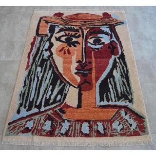Pablo Picasso - Bust of a Woman - Inspired Hand Knotted Area Rug - Wall Rug 4′ × 5′5″ Preview