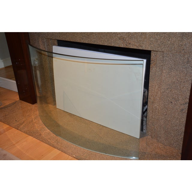 Custom Curved/Bowed Glass Fireplace Screen For Sale - Image 10 of 11