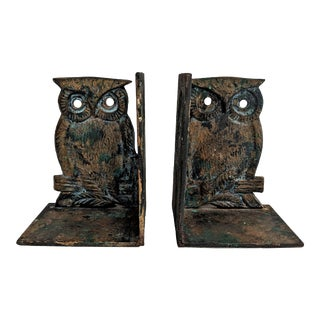 Vintage Metal Owl Bookends - A Pair