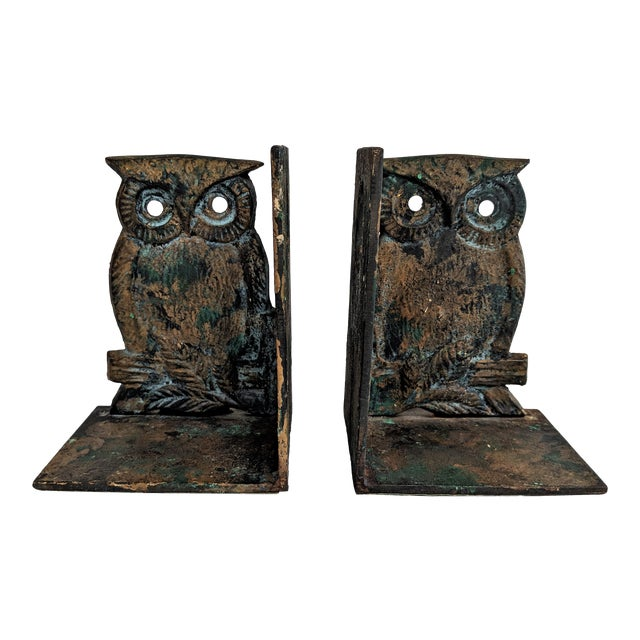 Vintage Metal Owl Bookends - A Pair - Image 1 of 9