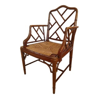 Vintage Chippendale Faux Bamboo Armchair For Sale