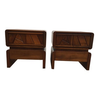 1970s Mid-Century Brutalist Wood Nightstands - a Pair