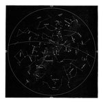 Square Vintage Minimal Star Map With Constellations - Black