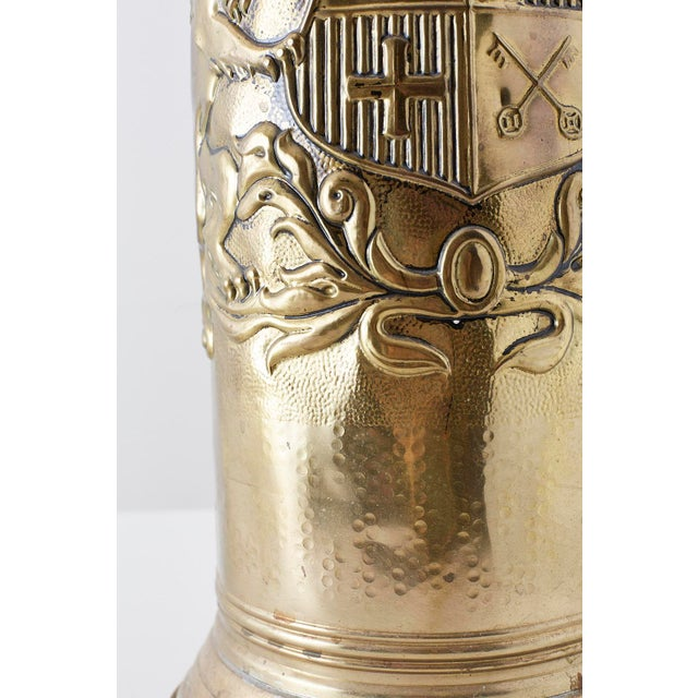 Brass Coat of Arms Umbrella Stand Holder For Sale - Image 9 of 11