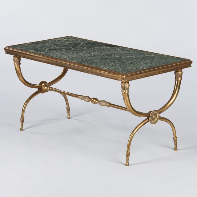 French Mid-Century Brass and Marble Coffee Table For Sale - Image 13 of 13