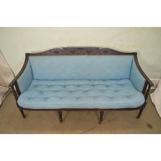 Early 20th Century Federal Style Antique American Custom Mahogany Frame Sofa For Sale - Image 5 of 13