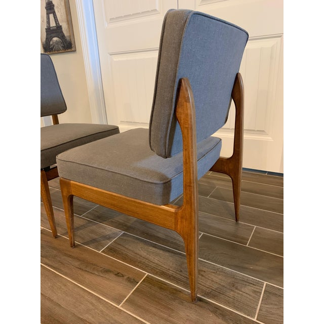 Pair of Mid-Century Gray Linen Chairs For Sale In Austin - Image 6 of 11