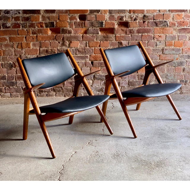1950s Hans Wegner Sawbuck Chairs Model CH-28 by Carl Hansen 1950s - A Pair For Sale - Image 5 of 13